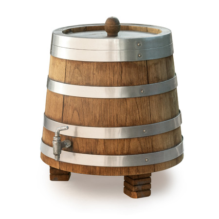 Wooden barrel with tap isolated on white background with clipping path Banque d'images