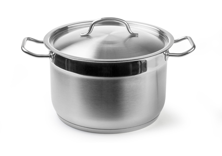 stainless steel cooking pot isolated on white with clipping path