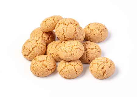 Amaretti cookies traditional Italian biscuits isolated on white