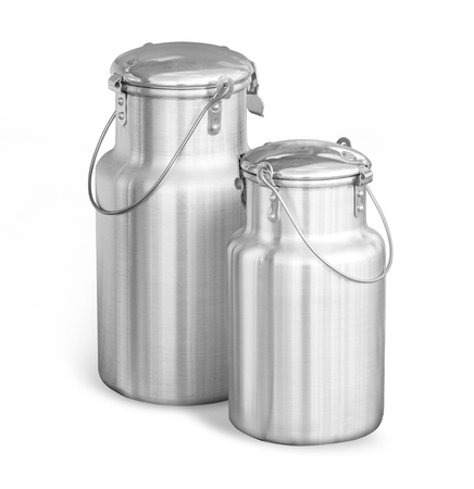 aluminium milk cans on white background
