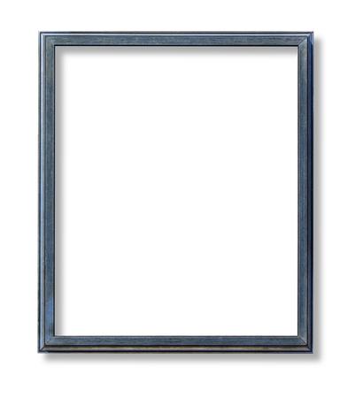 blauer Holzrahmen isoliert auf weißem Hintergrund