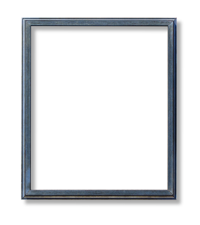 niebieska drewniana rama na białym tle