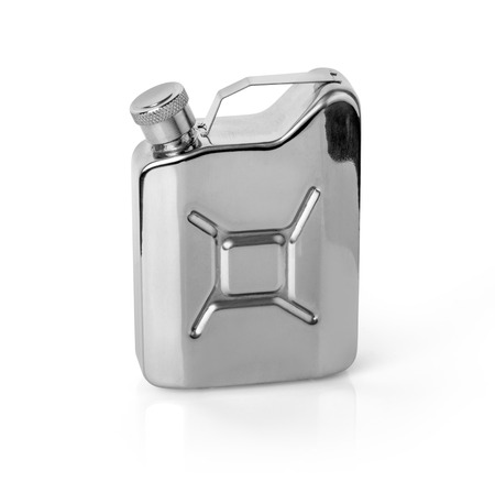 Stainless hip flask isolated on white  with clipping path