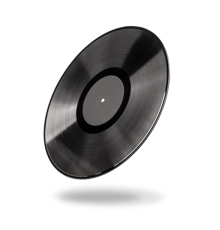 Vinyl record with black  label isolated over white with clipping path