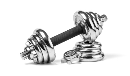 silver fitness weights isolated on a white 版權商用圖片