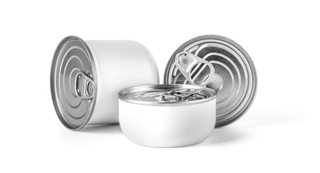 metal cans on a white background Stock Photo