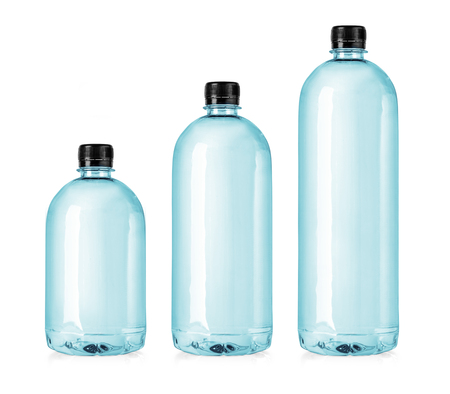Set of plastic water bottles isolated on white