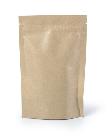 Bruine papieren voedselzakverpakking met klep en afdichting