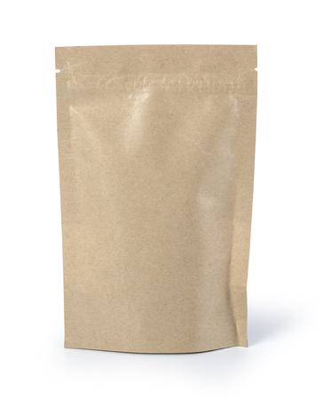 Lebensmittelbeutelverpackung aus braunem Papier mit Ventil und Siegel