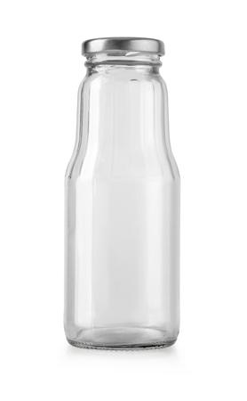 pusta szklana butelka na białym tle