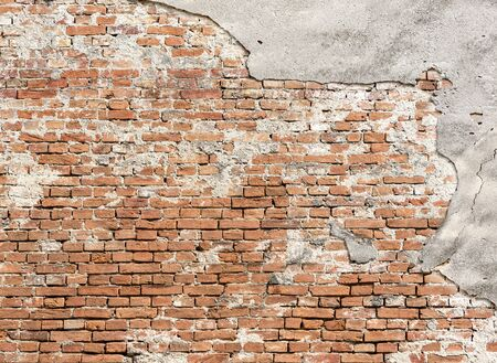 Pusty stary ceglany mur tekstura, tło