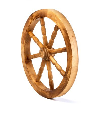 wooden wheel isolated on a white background Banque d'images