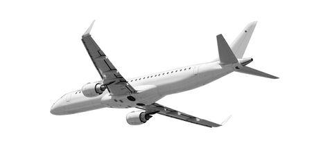 Großes Verkehrsflugzeug, das isoliert auf weiß mit Beschneidungspfad fliegt