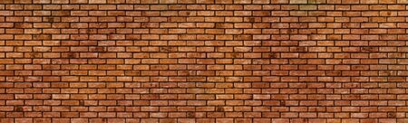 Panoramic red brick wall pattern texture background. Wide panorama of masonry