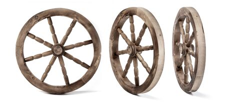 wooden wheel isolated on a white background