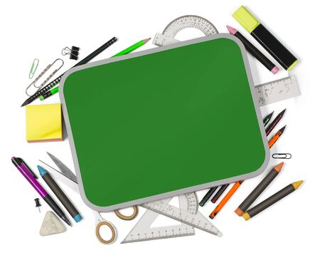 School notebook and various stationery. Back to school concept. Фото со стока