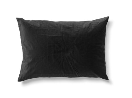 Black pillow isolated on white background