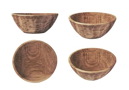 handmade carved wooden bowl isolated on white background