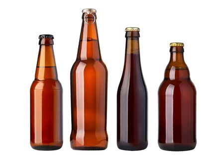 brown beer bottles isolated on white