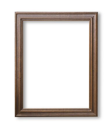 Wooden frame for paintings or photographs isolated with clipping path