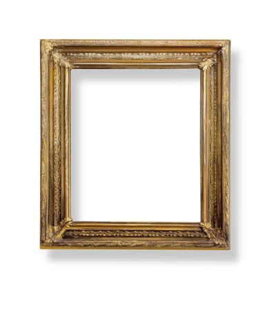 Very old wooden frame. Isolated on white background.With clipping path