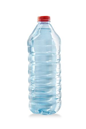 Plastic bottle of still healthy water isolated on white background with clipping path