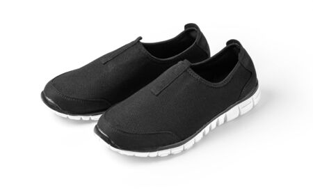 black sport shoes isolated with clipping path