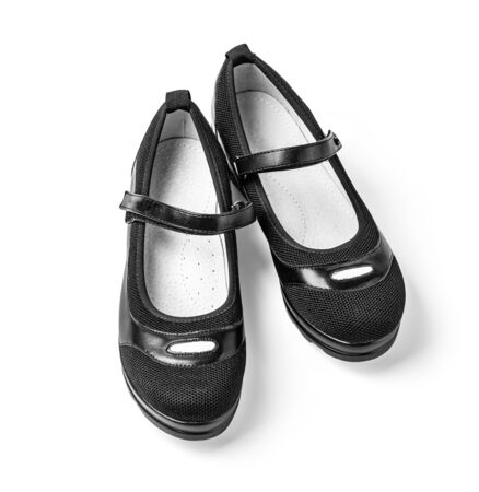 black girl  shoes   isolated on white with clipping path Stock Photo