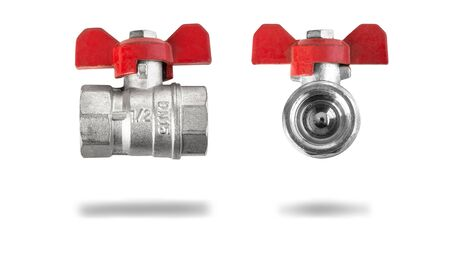 Ball valve with red handle isolated on white background with clipping path