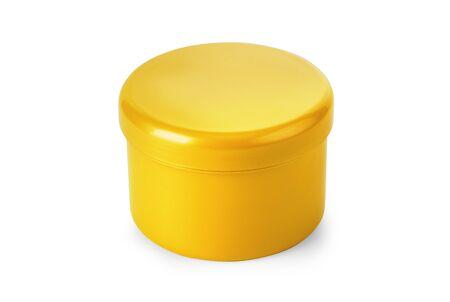 golden jar of cream isolated on white Stock fotó