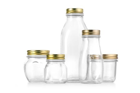 glass bottles isolated on white background Stock Photo