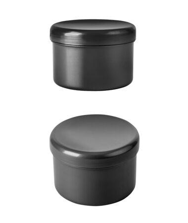 black jar of cream isolated on white Stock fotó