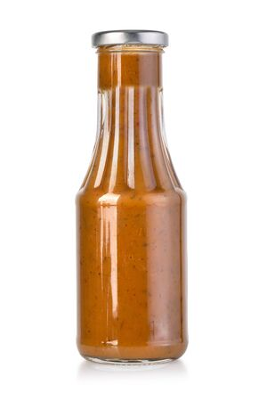 barbecue sauces in glass bottles with clipping path