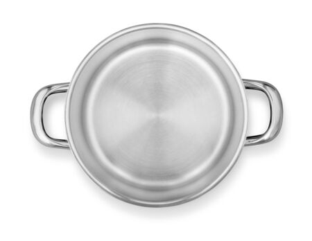 Steel pot top view isolated on white with clipping path