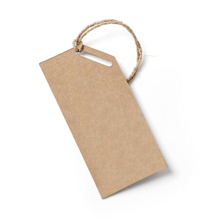 Blank tag tied with string. Price tag, gift tag, sale tag, address label Reklamní fotografie