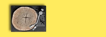 vinyl recorder. top view, copy space, background for banner