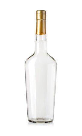 Full bottle of vodka on white background Foto de archivo