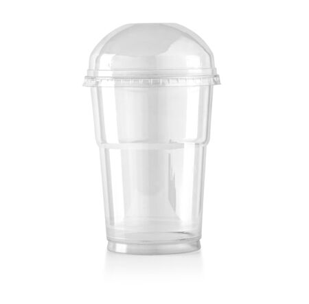 Plastic transparent disposable cup , with clipping path