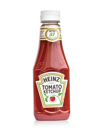 Chisinau, Moldova, April, 30, 2016: A bottle of Heinz Ketchup isolated on white background. Publikacyjne