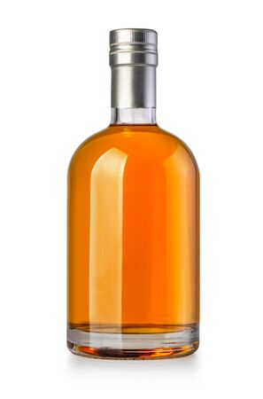 whiskey bottle isolated on white with clipping path