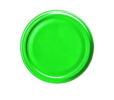 couvercle de pot vert isolé sur fond blanc, vue de dessus
