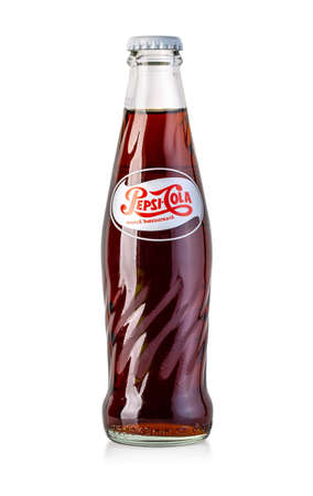 Chisinau, Moldova - Apil 26, 2020: Vintage Pepsi Bottle Isolated On White Background. Pepsi is a carbonated soft drink that is produced and manufactured by PepsiCo. Editoriali