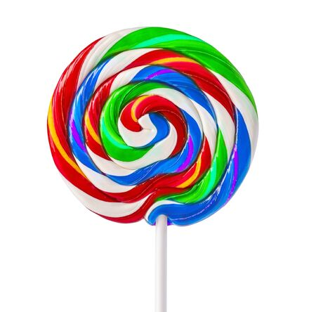 Colorful rainbow lollipop swirl on white stick isolated on white background