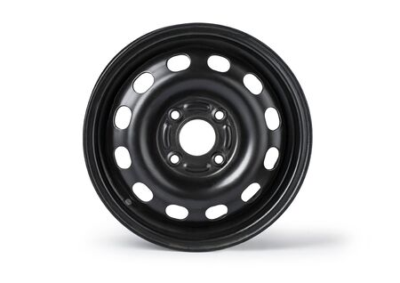 Steel wheel rim on white background with clipping path Stockfoto