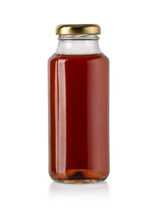 bottle cherry juice isolated on white with clipping path