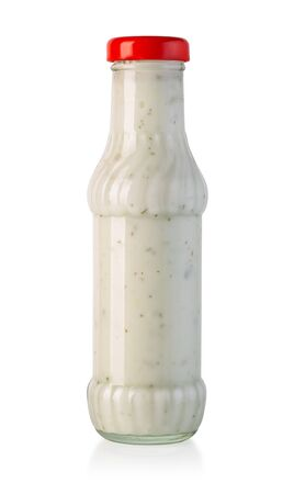 barbecue sauces in glass bottle isolated on white with clipping path Standard-Bild