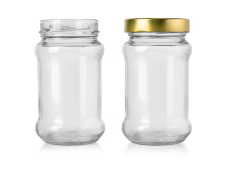 empty glass jar isolated on white with clipping path Stock Photo
