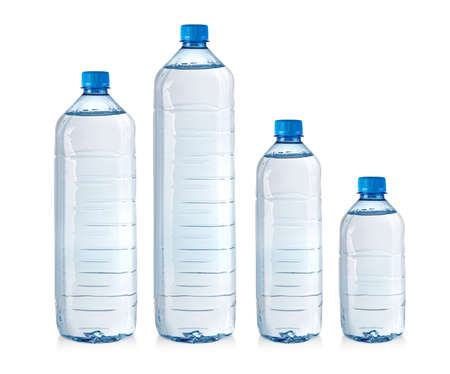 set of water plastic bottles isolated on white