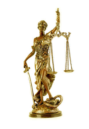 The Gold Statue of Justice - lady justice or Iustitia / Justitia the Roman goddess of Justice