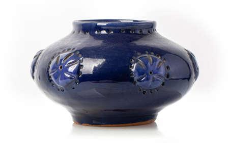 Blue  ceramic jug. Isolated on white background.